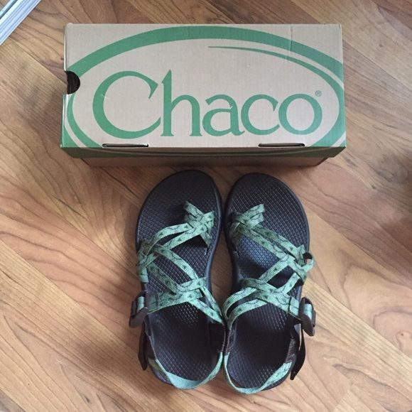 BRAND NEW Chacos BRAND NEW double strap green Chacos. Never been worn, they were just a little too small for me and I ended up buying red ones instead. Chacos Shoes