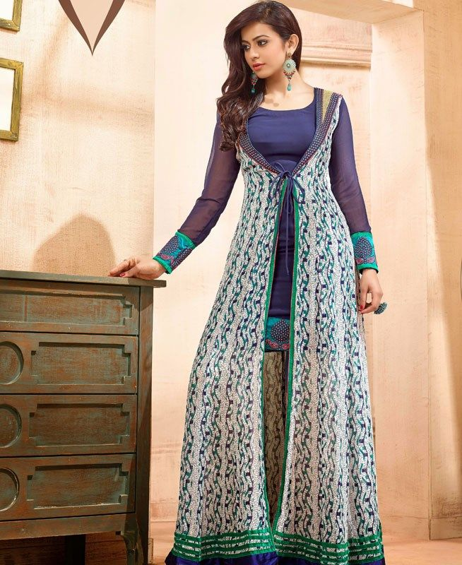 Picture of Majesty Navy Blue & Off White Anarkali Salwar Kameez
