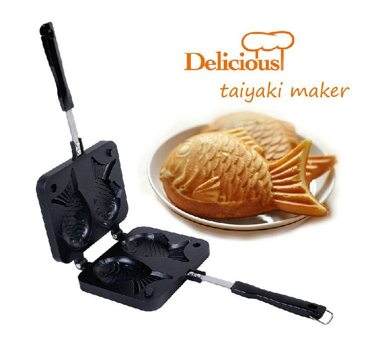 Taiyaki Maker 2016 Home DIY Japanese Fish-Shaped Bakeware Waffle Pan with 2 Sided Taiyaki Fish Mold Cake Tools #baking