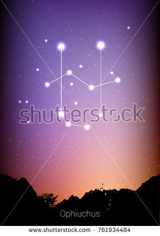 Ophiuchus zodiac constellations sign with forest landscape silhouette on beautiful starry sky with galaxy and space behind. Ophiuchus horoscope symbol constellation on deep cosmos background
