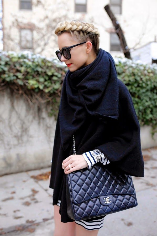 Atlantic-Pacific: cozy poncho Amazing layering, but looks at those braids!! LOVE :)