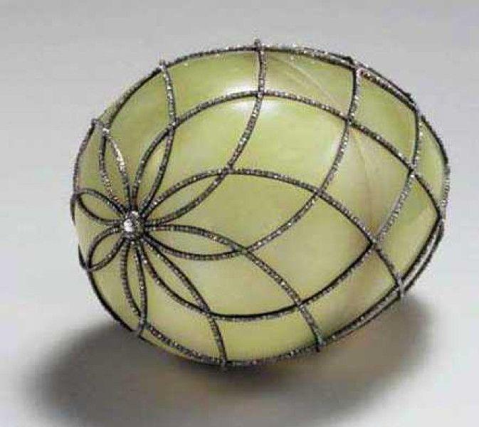 Diamond Trellis Egg,1892. Presented by Alexander III to Czarina Maria Fyodorovna.