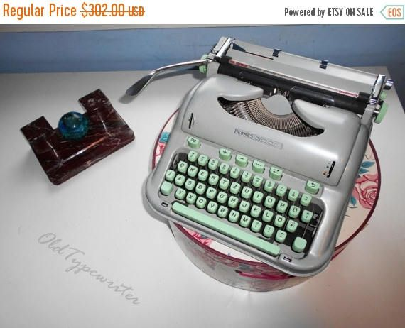 40% SALE Vintage Working Mint Green Manual Typewriter HERMES