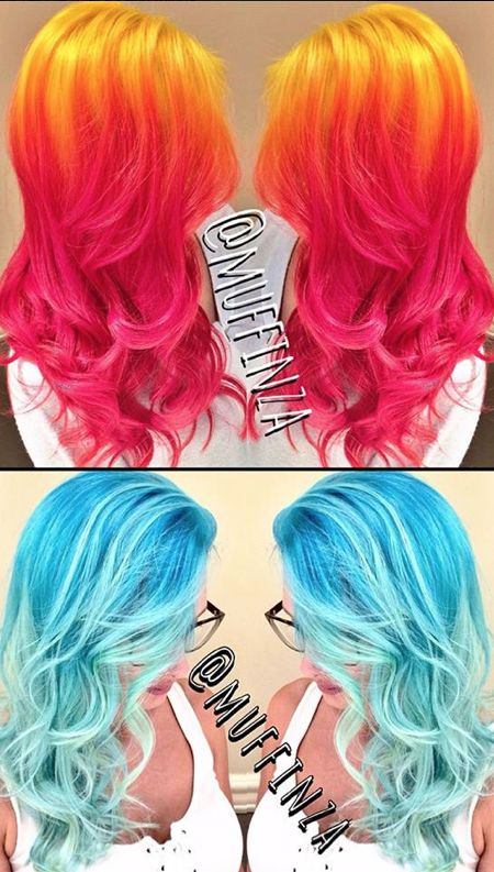 * Hot Head, Chill Hue * OK, these Starburst sherbert and glacier pool blue makeovers by Blanche Macdonald Pro Hair graduate Aaron Brousseau are MAGNIFICENT. Aaron, one of Vancouver's most fabulous fringe phenoms has just laid hands on a shipment of Pravana neons and pastels, and we must say the results are spectacular!