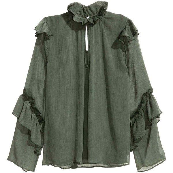 Blusa enrugada e com folhos (£26) ❤ liked on Polyvore featuring accessories