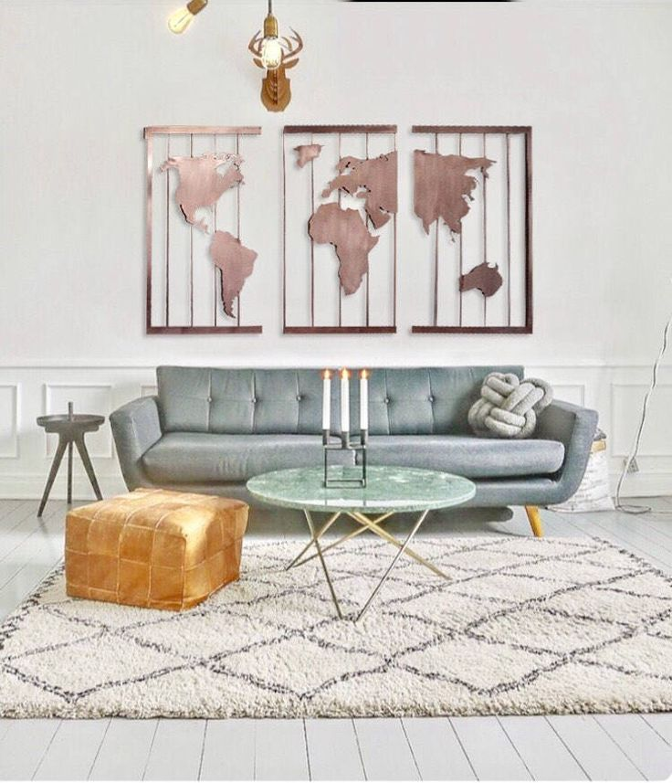 brushed copper three panel map of the world