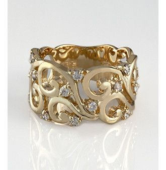 gold ring with diamond details