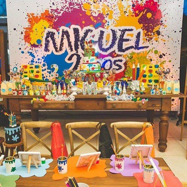 Adorei essa festa tema Arte, colorida e divertida, por @balaoazularacaju  #kiidsparty