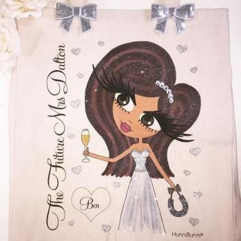 Bridal Personalised Large Cotton Canvas Shoulder Bag 3