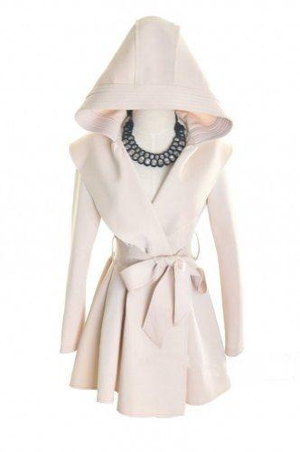 Promithi Womens Fold Windbreaker Hooded Jacket Long Trench Coat Outwear (L, apricot)