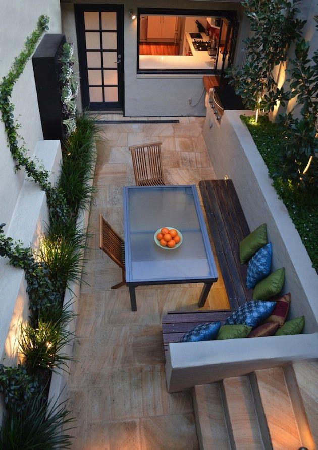 terrassen schmal essplatz freien bodenfliesen holz eckbank