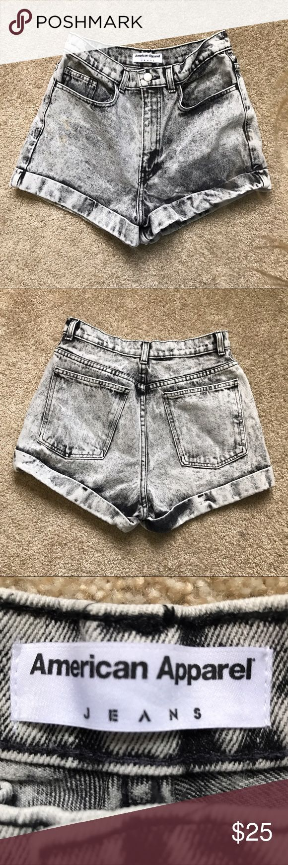 AA acid wash shorts Acid wash grey denim shorts!! High waisted and cuffed! Never worn, perfect condition. American Apparel Shorts Jean Shorts