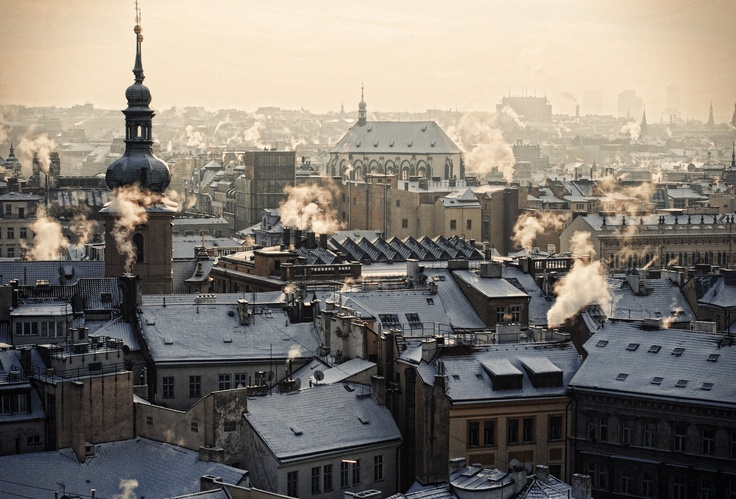 early morning sunrise captured from the Clock Tower in the center of PragueIndustrial Revolutions, Ears Mornings, Favorite Places, Snow, Sunris, Beautiful Places, Travel Spots, Prague Czech Republic, Clocks Towers
