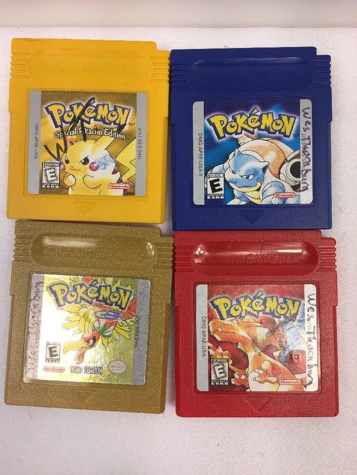 Lot 4 Pokemon Nintendo Gameboy Cartridges Yellow Blue Red Gold GAME BOY Japan #Nintendo