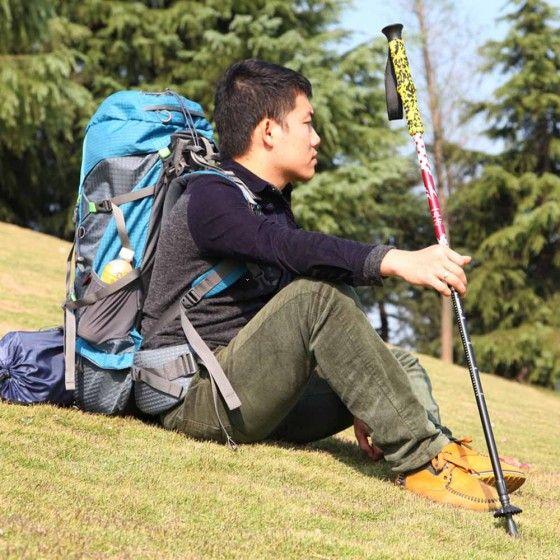 7075 Aluminum Alloy Adjustable Telescopic Hiking Walking Stick Trekking Pole Alpenstock 3 Section Anti-shock Anti-skid Ultra-light