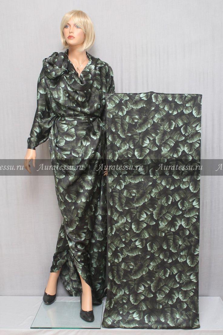 Шёлк-атлас Hermes FR мятно-зелёный тёмный растительный узор