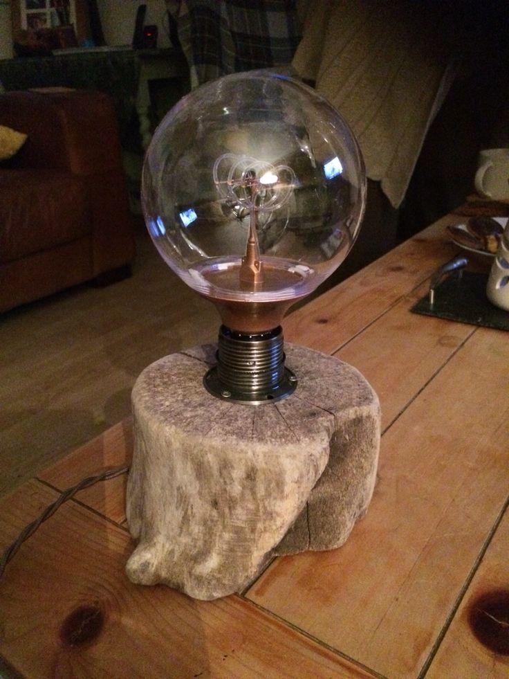 Log and Edison Bulb bedside lamp.