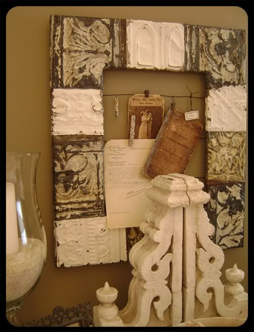 Ceiling Tins... This Frame Made From Old Ceiling Tins Is So Me.