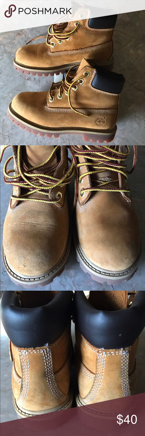 """Toddler 6"""" Timberland boots 11M Color: Wheat nubuck, premium full grain leather upper, seam-sealed waterproof construction, padded collar, steal shank for arch support, rubber lug outsole. Selling only because my son outgrew them! Still have a lot of wear left in them! Timberland Shoes Boots"""