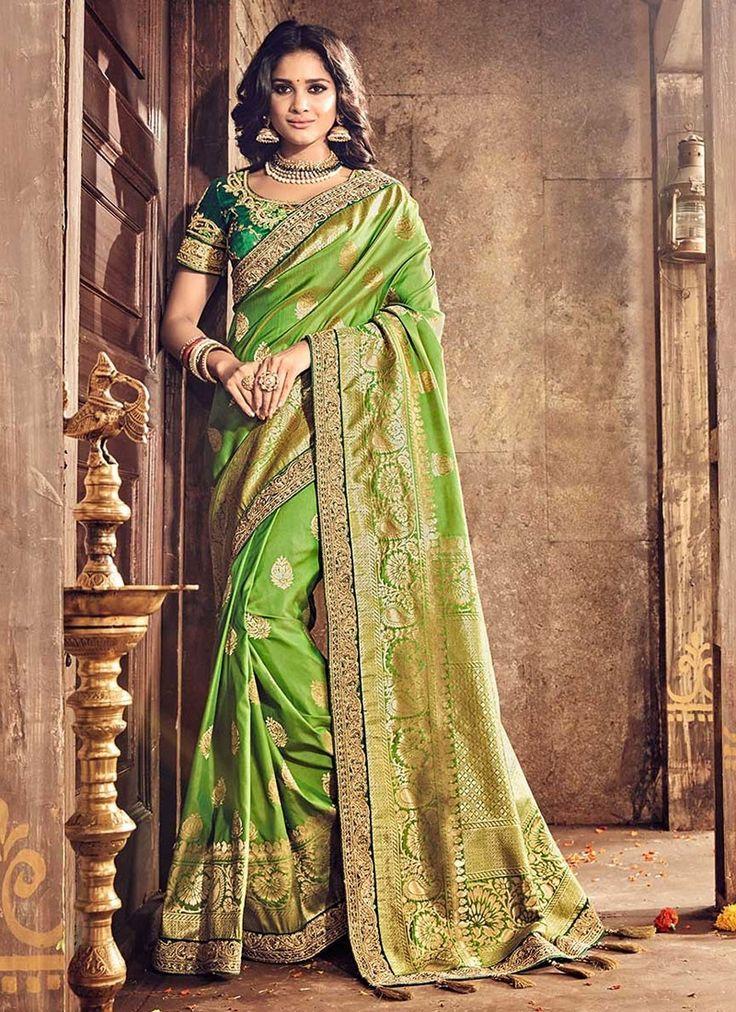 Green Banarasi Silk Wedding Saree With Embroidered, Print, Lace Works. Order #WeddingSareesOnline
