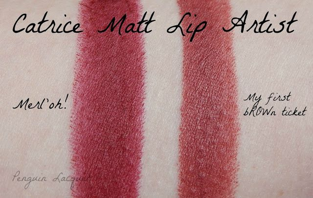 Swatches Catrice Matt Lip Artist 060 Merl'oh! and 070 My First bROWn ticket