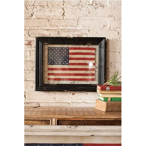 Black Framed Small American Flag Kalalou Wall Sculpture Wall Decor Home Decor