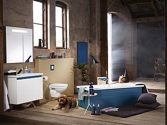 Snyggt och färgglatt badrum från Gustavsberg.