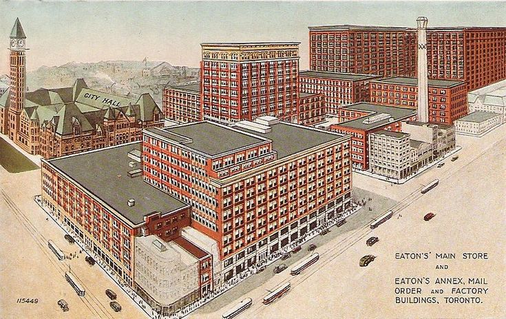 The Eaton's store, the Eaton's Annex, mail order facilities and factories in Toronto, at Yonge and Queen Streets, in 1920's.