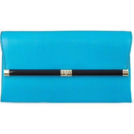 DIANE VON FURSTENBERG Lizard-embossed clutch bag (Blue