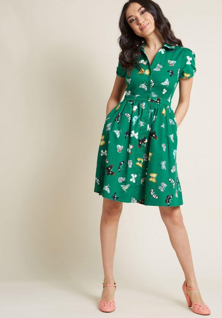 Summer School Cool Shirt Dress in Butterflies   ModCloth