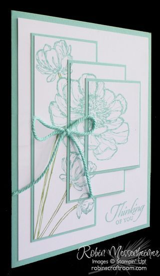 handcrafted card ... layered panels ... asymmetrical pyramid styling with line art flowers telescoped ... aqua and white with a splash of pale olive ... great card!