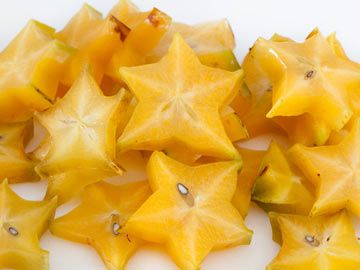 Broiled Star Fruit with Vanilla Frozen Yogurt