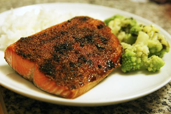 """Alaskan Sockeye salmon is broiled with a sweet-salty rub in this quick and easy recipe for Broiled Sockeye Salmon. Perfect for dinner! """"Mmm. I love salmon,"""" Paige said the other evening as we sat down to dinner. Our plates were filled witha vegetable medley ofromanesco broccoli and cauliflower, rice and a slab of this Broiled...Read More »"""
