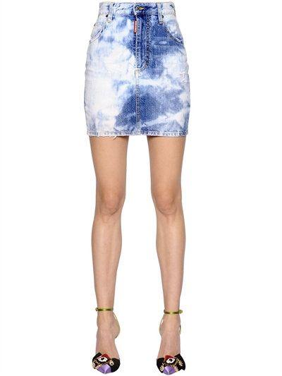 DSQUARED2 BLEACHED COTTON DENIM MINI SKIRT, BLUE. #dsquared2 #cloth #skirts