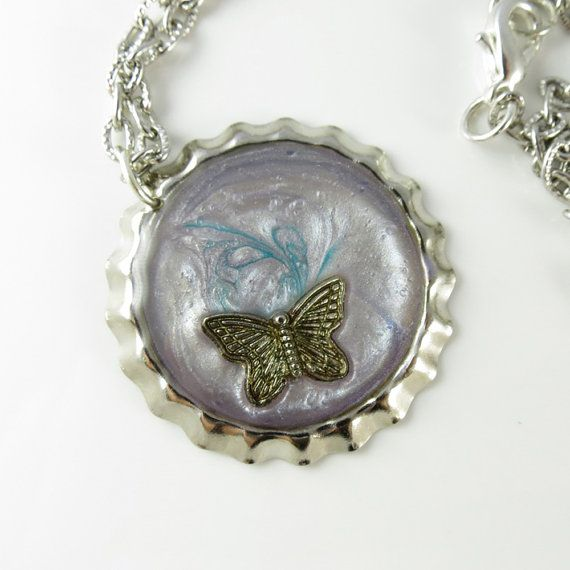Antique Silver Butterfly Hand Painted with Resin by ChaoticBliss