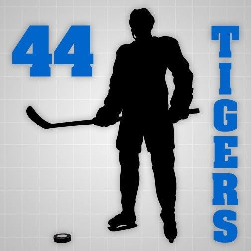 Hockey player wall silhouette,Hockey player decal name number,boys room decor #Modern