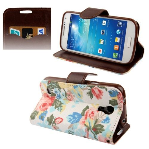 Bloemen wit bookcase hoes Samsung Galaxy S4 mini