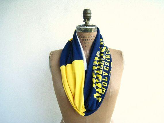 Michigan Football T Shirt Infinity Scarf // Navy Blue by ohzie