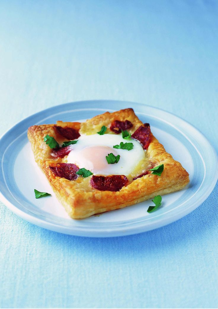 Gruyère, egg and chorizo tarts. Whip this delicious tart up in no time at all by using good quality ready-rolled puff pastry.