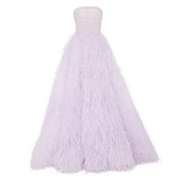 Monique Lhuillier Feather Strapless Ball Gown ($14,995) ❤ liked on Polyvore featuring purple, embroidered dress, purple evening dresses, embroidered gown, strapless corset and purple corset