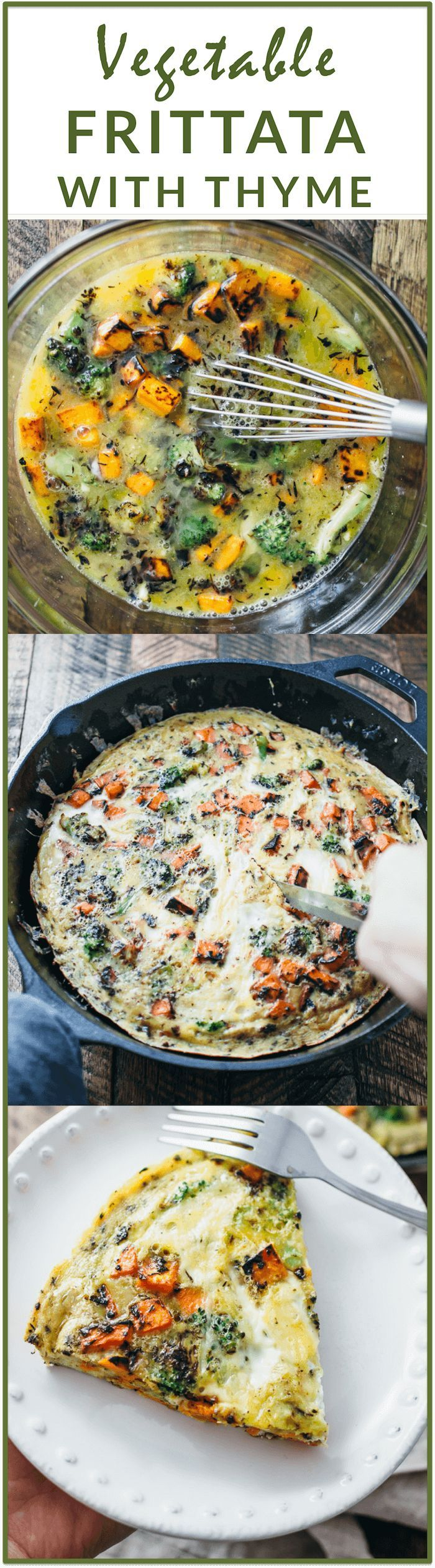 Broccoli and sweet potato frittata with thyme - I love this healthy and easy vegetable frittata — it's a one-pan dish that starts on the stove and then finishes in the oven. This recipe works great for all kinds of vegetables, if you're looking to clean out some veggies in your fridge. I used broccoli and sweet potato; other great ideas include spinach, asparagus, potato, and mushrooms. Yum