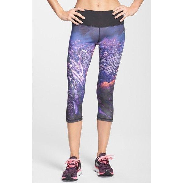 Women's adidas 'Performer' Print Capri Tights (63 CAD) ❤ liked on Polyvore featuring activewear, activewear pants, leggings, adidas sportswear, adidas activewear y adidas
