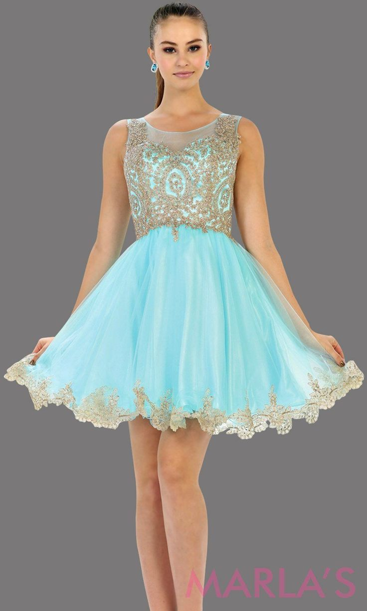 Short Aqua High Neck Grade 8 Grad Puffy Dress With Gold Lace This Light Blue Grade 8 Graduation Short Dress And Pretty Grad Dresses Short Grad Dresses Dresses [ 1226 x 736 Pixel ]