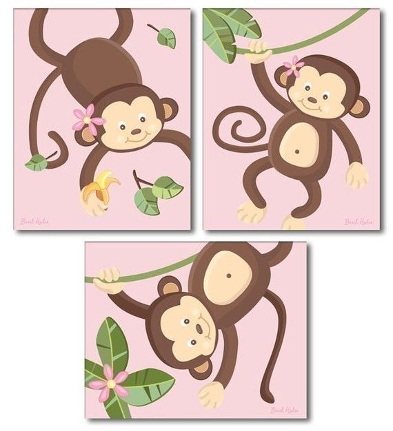 Pink Jungle Monkey Monkeys Nursery Ar Prints