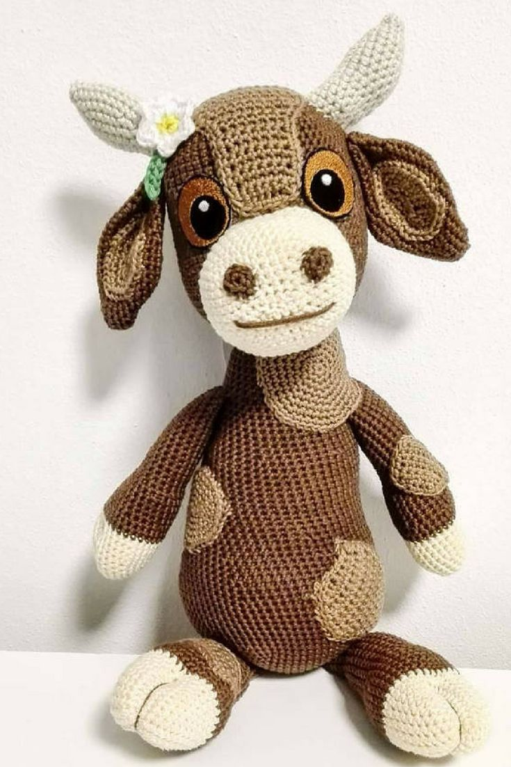 Debbie the Cow Amigurumi Crochet Pattern Printable PDF | Cute Spotted Brown Cow Genuine Eyes Stuff Toy For Children