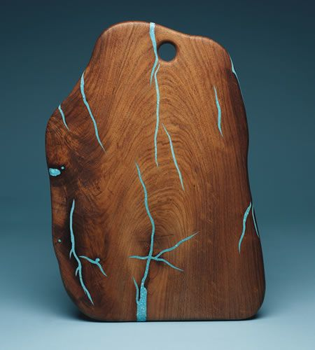 Mesquite and Turquoise cutting boards, all one of a kind. At American Crafts by Robbie Dein.