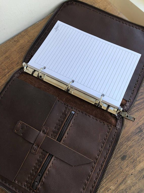 Zippered leather padfolio, Small three ring binder, 3 ring folder
