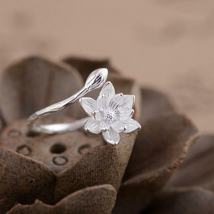 Sterling Silver Lotus Ring / Lotus Blossom Ring / Sterling Silver Ring / Adjustable Ring