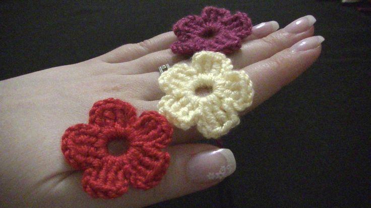 Blume häkeln - einfach und schnell - 5 Blätter Minik çiçek yapımı...