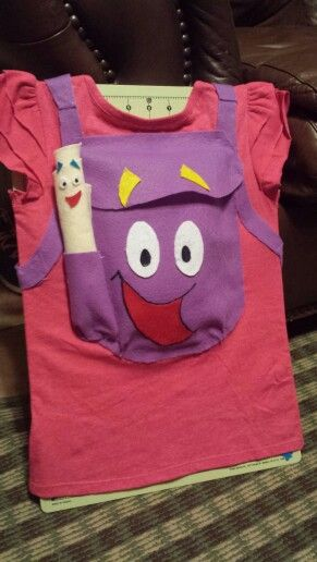 Felt and a Tshirt.  Fast and easy Dora costume.